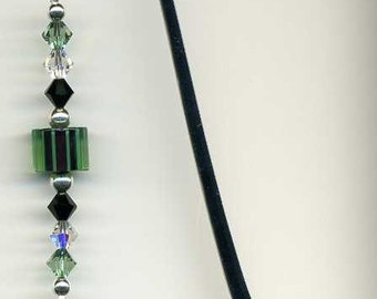 Girl Scout Bookmark, Beaded Bookmark, Crystal Beaded Bookmark, Glass Bead Bookmark, Girl Scouts Charm, Beadwork Bookmark, Green and Black