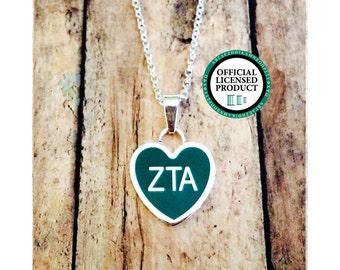 Zeta Tau Alpha Enamel Heart Necklace | Zeta Tau Alpha Necklace | Sorority Necklace | Zeta Tau Alpha Heart | Heart Necklace | ZTA Necklace