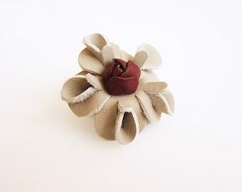 Flower Brooch, Leather flower Brooch, Leather flower clip