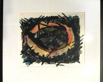 CIRCLE DREAM hand painted monoprint