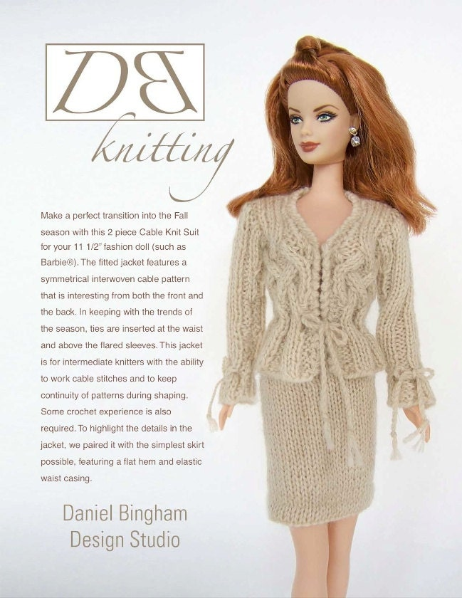 Knitting pattern for 11 1/2 doll Barbie: Cable Knit