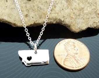 Tiny Sterling Silver Montana Necklace / Custom Heart / Small Montana Necklace / Love Montana / State Necklace / Montana Wedding