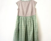 boat neck cotton dress with gathered skirt, side pockets, side hidden zip and fabric belt -- OOAK