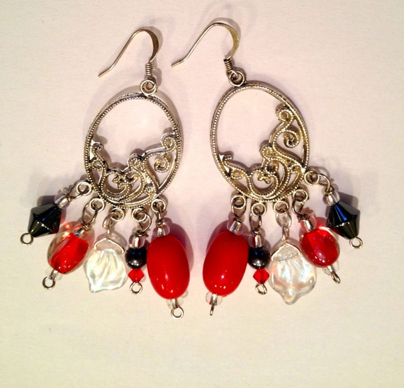 Red, pewter, silver and Swarovski crystal beaded earrings.