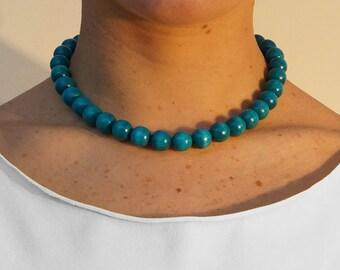 Turquoise Wooden Bead Choker | Turquoise Choker