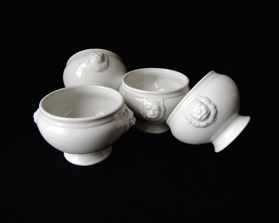 White Porcelain Lion Head Soup Bowl Set Of 8 Pieces