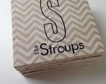 Family Name Coasters, Personalized Wedding Gift, Monogram Chevron Tile Coasters, Chevron Coasters, Custom Bridal Shower Gift