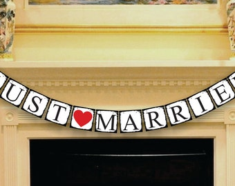 Just Married Banner - Just Married Car Sign - Wedding Banners - Just Married Garland - Wedding Photo Props Sign