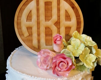 Personalized Cake Topper - Monogram Wooden Cake Topper - Wedding Cake Topper