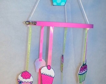 SALE! Mobile Pretty Little Cupcakes mobile,boy, girl, baby, nursery, handmade, one of a kind, so much fun!