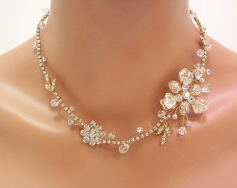 Gold Wedding necklace, Crystal Bridal necklace, Bridal jewelry, Beaded necklace, Swarovski crystal necklace, Gold Rhinestone necklace