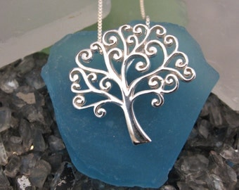 Tree of Life Necklace- Swirly Design- Sterling Silver