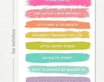 art party birthday invitation, paint and celebrate birthday invitation, girls rainbow pastel, 10th birthday, any age 5x7 jpg pdf 118