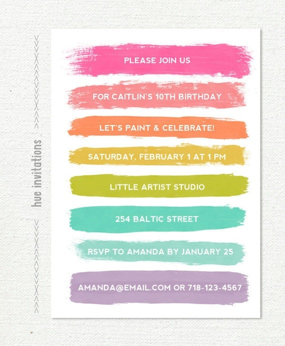 art party birthday invitation paint and celebrate birthday – 10th Birthday Invitations