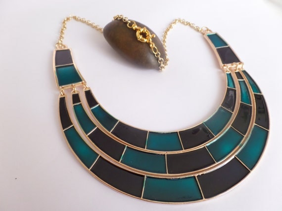 Egyptian Blue Necklace - Nefertari (Metal/Enamelling/Gold)