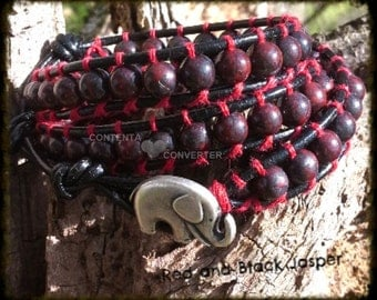 Leather Wrap Bracelet Triple Wrap Gemstone Bracelet - Boho Leather Wrap - Black and Red Braciated Jasper Gemstone Wrap Bracelet