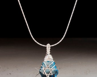 Silver jewish star necklace