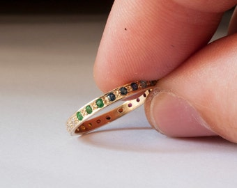 Eternity ring - Rainbow ring - Emerald ring - Ruby ring - Sapphire - Blue topaz