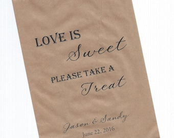 Love is Sweet Wedding Personalized Party Favor Brown Kraft Bags