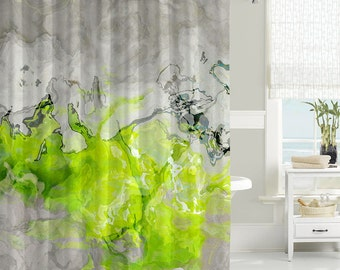 Contemporary Shower Curtain Abstract Art Bathroom Decor Lime Green And Warm Gray Waterproof Fabric