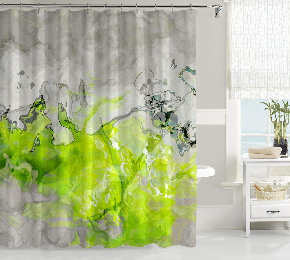 Mint green shower curtain and rugs - Contemporary shower curtain abstract art bathroom decor lime green and warm gray waterproof fabric shower curtain lime love