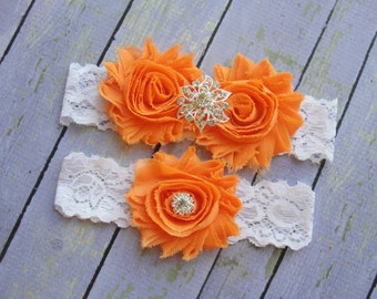 Orange Garter, Orange Wedding Garter, Colorful Wedding, Garter Belt, Bright Orange Wedding Garter, Tangerine Garter, Orange Wedding