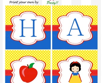 Snow White Happy Birthday Banner by Love this Moment!