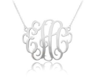 Personalized Monogram Necklace in Sterling Silver -  Monogram Necklace - Initials Necklace - Monogram Necklace Personalized Jewelry