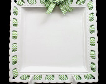 Prissy Plate ~ Square Serving Platter ~ Ribbon Plate ~ No Monogram ~ Large Serving Dish ~ Turkey Plate ~ Hostess ~ Housewarming