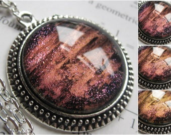 Magma - Circle Necklace - Science Jewelry - Galaxy Jewelry - Physics Jewelry - Planet Jewelry - Galaxy Necklace - Glass jewelry - Nebula