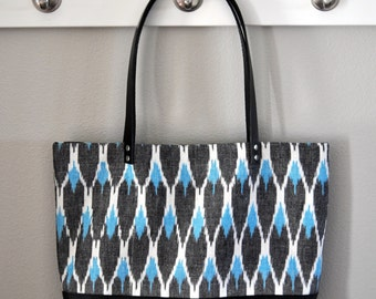 Canvas and Leather Tote Bag in Blue and Black Ikat