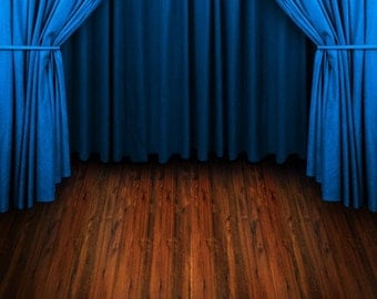 Blue Curtains Photography Backdrop