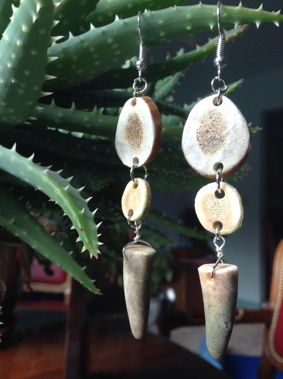 Caribou and Deer Antler Earrings