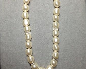 Swarovski Crystal Baroque Pearl Necklace in Cream