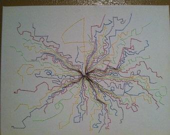 "original abstract stitching 16""x20"""