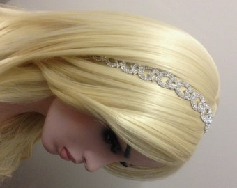 Rhinestone Tiara-Bride Tie Up Headband-Bridal Headband-Crystal Bridal Headband-Bride Hair Piece-Shimmering Silver Plated Rhinestone Headband