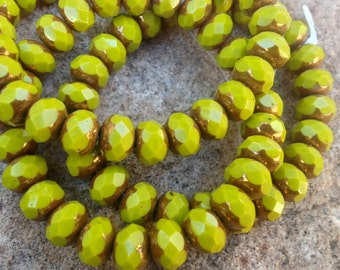 Czech Artisan 6 x 9 mm Faceted Rondell  Rondelle Beads--Opaque Chartreuse  Green  with Bronze Edges
