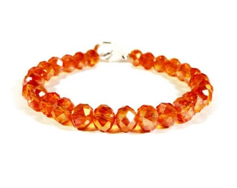 Orange Crystal Bracelet, Orange AB Bracelet, Crystal Tennis Bracelet, Beadwork Bracelet, Beaded Bracelet, Beaded Jewelry, Women's Jewelry