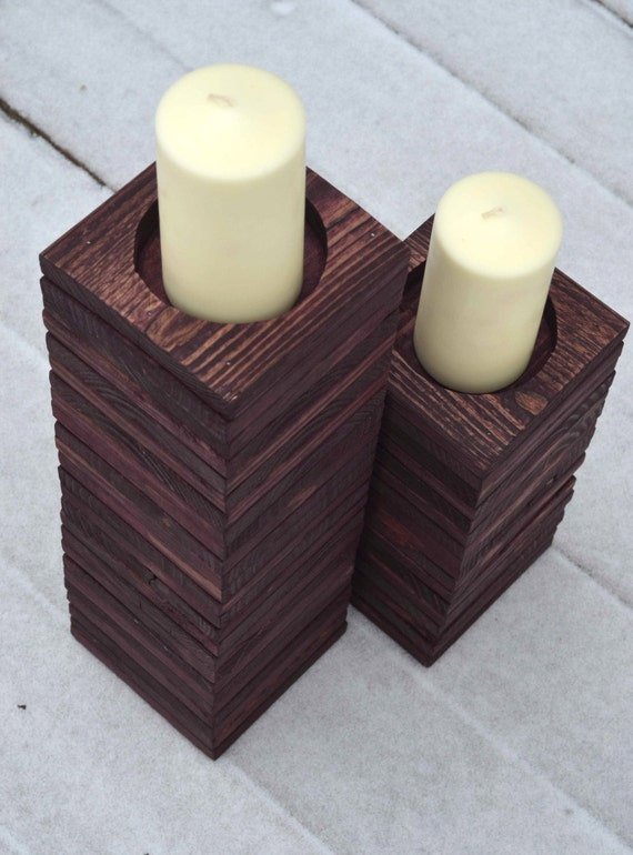Items similar to Wood Pallet Candle Holders / Reclaimed Wood Candle Holder  Set / Rustic Upcycled Candle Holder for Mantel or Fireplace on Etsy - Items Similar To Wood Pallet Candle Holders / Reclaimed Wood