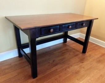 Rustic Handcrafted Wood Office Desk with 3 Drawers