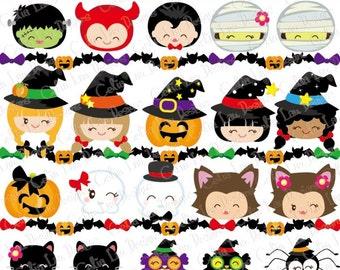 halloween clipart happy halloween smiley face digital clipart kawaii halloween kid clip art - Halloween Clip Art Border