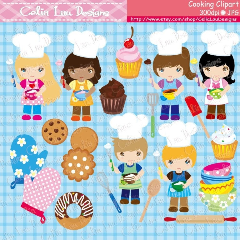 Cooking Clipart, Baking Clipart, Little Baker Cooking Invitation ...