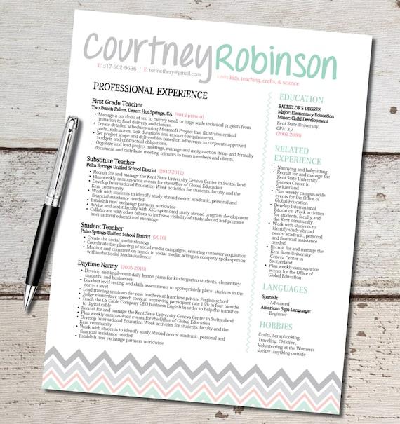 items similar to teacher resume template design