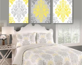 Bedroom Wall Art - Bedroom Decor. Wall Art. Home Decor. Bathroom Art. Damask Art. Damask Bedroom Art. Flourish Wall Art. Gray Yellow -NS-416