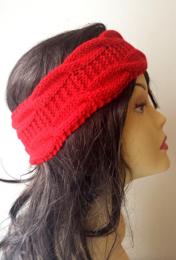 Hand Knit Merino Wool Headband, Hair Accessories, red knitted headband, cable knit red hairband