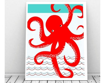 Octopus Print,  Sea Creature Art, Sea Creature Nursery, Sea Creature Print, Instant Digital Download, Octopus Art,  Ocean Nursery Art