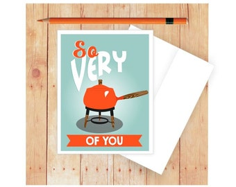 Fondue Card, Fond of You Card, Funny Anniversary Card, Love Card for Him, Love Card for Her, I Like You, Vintage Fondue Pot, Valentine Card