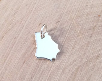 Georgia Charm, Georgia Charm, Georgia Stamping Blank, Sterling Silver Georgia Blank, Georgia State, Sterling Silver Charm, TINY, PS0196