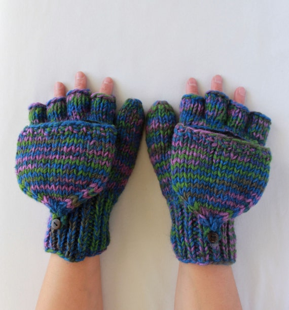 Lined Mittens Knitting Pattern : Knitted Fleece Lined Warm 100% Wool Fingerless Convertible