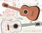 Retro Digital Clip Art, Digital Flowers, Digital Guitars, Digital Flower Paper, Digital Illustrations, INSTANT download, PNG, JPG, Retro Art